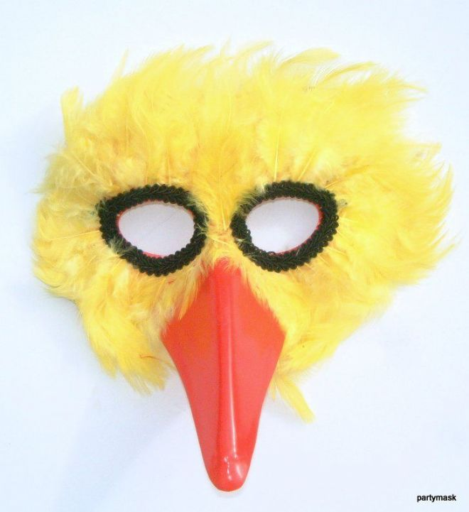 Yellow Bird feathered Mask (1)